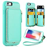 ZVE Case for Apple iPhone 6 Plus and iPhone 6s Plus, 5.5 inch, Leather Wallet Case with Credit Card Holder Slot Zipper Wallet Pocket Purse, Cover for Apple iPhone 6 / 6s Plus - Blue