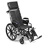 Invacare Tracer SX5 Recliner Wheelchair, with Desk Length Arms and T94HCP Elevating Legrests with Padded Calf Pads, 18' Seat Width