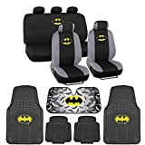 Batman Seat Cover, Rubber Floor Mat and Sun Shade - Warner Brothers 14 Piece Full Interior Protection Auto Accessories
