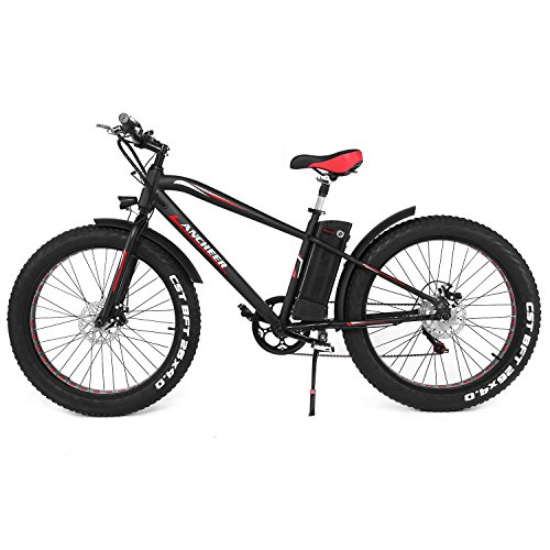 ANCHEER Fat Tire Electric Mountain Bike, 26 x 4 Electric Beach Snow Bicycles with 300W Brushless Motor and 36V 10AH Lithium Battery, Shimano 6 Speed (Black)