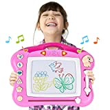 Rainbrace Kids Magnetic Drawing Board 15x11 Magna Doodle Board Erasable Drawing Toys for 3+ Year Old Girls Boys, Writing Sketching Pad for Toddlers - Pink