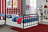 "DHP Brooklyn Metal Iron Bed w/ Headboard and Footboard, Adjustable height (7"" or 11"" clearance for storage), Sturdy Slats Included, No Box Spring Required, Full Size Mattress, Black"
