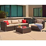 SUNCROWN Outdoor Furniture Sectional Sofa & Chair (6 Piece Set All-Weather Checkered Wicker Seat Cushions & Modern Glass Coffee Table | Patio, Backyard, Pool | Incl. Waterproof Cover, 6 Piece Brown