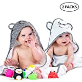 Premium Hooded Baby Towels For Boys & Girls - Soft Cotton Toddler Towel With Hood Set - Hypoalleregnic & Thick - Unisex Infant & Newborn Bath Towels With Hood For Boy Or Girl - Baby Shower Gift 2 Pack