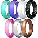 ThunderFit Silicone Rings, 7 Pack Wedding Bands for Women - 5.5 mm Wide (Teal Purple White Silver Bronze Black Pink Glitter, 6.5-7 (17.3mm))
