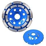 FIXKIT 4-1/2-Inch Diamond Grinding Cup Wheel, Double-Row Segment Grinding Wheel Disc (8 Holes), Blue