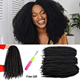 Marley Hair Crochet Hair 3 Packs Marley Twist Crochet Braids Afro Kinky Twist Crochet Hair Marley Hair for Twists 18inch Synthetic Kinky Hair Extension for Black Women(1B)