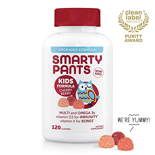 Daily Gummy Multivitamin Kids Cherry Berry: Biotin, Vitamin C, D3, E, B12, A, Omega 3 Fish Oil, Zinc, Iodine, Choline, Folate (Methylfolate) by SmartyPants (120 Count, 30 Day Supply)Packaging May Vary