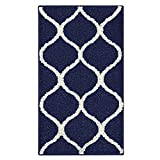 Maples Rugs Kitchen Rug - Rebecca 1'8 x 2'10 Non Skid Small Accent Throw Rugs [Made in USA] for Entryway and Bedroom, Navy Blue/Cream
