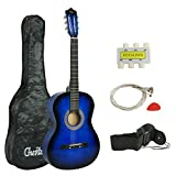 ZENY Beginners 38'' Acoustic Guitar Package Kit for Right-handed Starters Kids Music Lovers w/ Case, Strap, Tuner, and Pick (Blue)