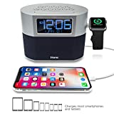 iHome iWBT400 Bluetooth Dual Alarm FM Clock Radio with Speakerphone, Apple Watch Charging and USB Charging