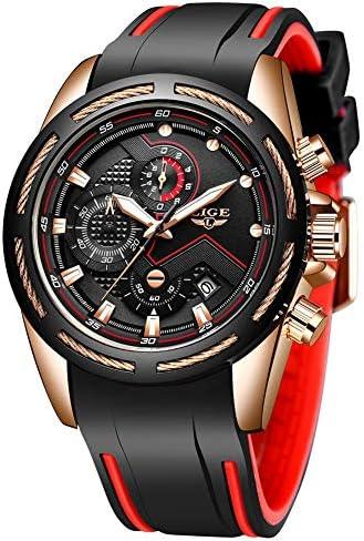 Lige Men's Watch Fashion Waterproof Silica Gel Chronograph Luxury Business Analog Quartz Watches Classic Black Belt Date Calendar Watch 1