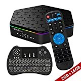 WISEWO Android 7.1 Caixa de TV inteligente Amlogic S912 Octa Core CPU 2GB / 16GB UHD 4K2K 3D Sep Top Box Mini PC Media Player com mini-teclado sem fio retroiluminado