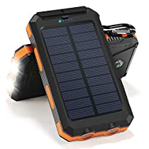 Solar Charger 10000mAh Solar Power Bank Portable Battery Pack Cellphone Charger?Orange