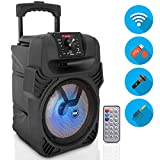 400W Portable Bluetooth PA Loudspeaker - 8' Subwoofer System, 4 Ohm/55-20kHz, USB/MP3/FM Radio/ ¼ Mic Inputs, Multi-Color LED Lights, Built-in Rechargeable Battery w/ Remote Control - Pyle PPHP844B