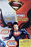 Superman Man of Steel 32 Valentines Cards with Tattoos Plus Bonus Sticker Sheet
