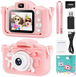 Kids Camera for Girls Toddler – Mini Digital Camera Toys for 3 4 5 6 7 8 Year Old Children – Anti-Drop 20.0MP Selfie Dual Video Camcorder – 2.0 Inches Screen + SD Card 32GB (pink1)