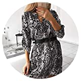 betterluse Spring Dresses V-Neck Shirt Dress Snake Print Wrap Dress Long Sleeve Irregular Robe Vestido,Black,S
