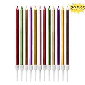 LUTER Metallic Birthday Candles in Holders Multi Color Tall Birthday Cake Candles Long Thin Cupcake Candles for Birthday Wedding Party Decoration (24 Pieces) 512SAAT8eeL