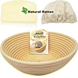 WALFOS 10' Round Banneton Proofing Basket Set - NATURAL RATTAN French Style Artisan Sourdough Bread Bakery Basket,Dough Scraper/Cutter & Brotform Cloth Liner Included - For Professional & Home Bakers