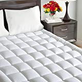 Maevis Quilted Fitted Mattress Pad Cover Queen Size Stretches up to 21 Inches Deep Mattress Topper Cotton Top Pillow Top with Snow Down Alternative Fill