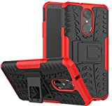 LG Stylo 4 Case, LG Q Stylus Case, LG Stylo 4 Plus, Yiakeng Dual Layer Shockproof Wallet Slim Protective with Kickstand Hard Phone Case Cover for LG Stylus 4 (Red)