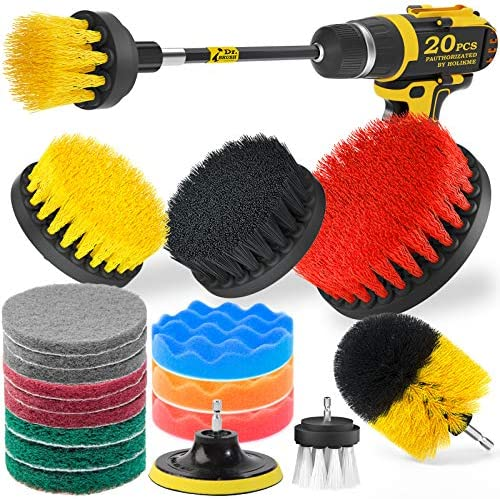 Holikme 20Piece Drill Brush Attachments Set, Scrub Pads & Sponge, Buffing Pads, Power Scrubber Brush with Extend Long Attachment, Car Polishing Pad Kit