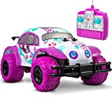 SHARPER IMAGE Pixie Cruiser Pink and Purple RC Remote Control Car Toy for Girls with Off-Road Grip Tires; Princess Style Big Buggy Crawler w/ Flowers Design and Shocks, Race Up to 5 MPH, Ages 6 Year +