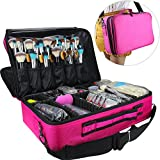 Relavel Makeup Bags Travel Large Makeup Case 16.5 inches Professional Makeup Train Case 3 Layer Cosmetic Bag Makeup Artist Organizer Brush Holder Storage with Shoulder Strap Dividers (Large Hot Pink)