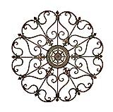 Deco 79 50094 Large, Round Bronze Metal Snowflake w/Fleur De Lis Designs, Vintage, Holiday Decorations, Christmas Wall Art, x 29 Diameter, Distressed