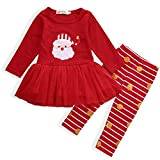 AR-LLOYD Newborn Baby Girl Christmas Santa Claus Princess Tutu Party Dresses with Striped Polka Dot Pants Outfits (Red, 110/2-3y)