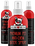 Anti Chew Dog Training Spray: No Chew Bitter Spray and Pet Deterrent for Dogs and Cats - Behavior Correction to Stop Chewing and Licking - Safe for Furniture, Paws and Bandages - 8 Oz (1 Bottle)