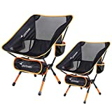 Ultralight Portable Folding Camping Chair, 2-Pack of Sportneer Backpacking Chairs, Compact and Heavy Duty Outdoors, BBQ, Beach, Travel, Picnic, Festival with 2 Storage Bags and Carry Bag