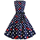 Women Fashion Print Vintage Dress 1950s Retro Swing Dress Hallmark Elegant Lady Event Cocktail Party Dress