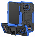 Moto Z3 Case, Moto Z3 Play Case, Yiakeng Dual Layer Shockproof Wallet Slim Protective with Kickstand Hard Phone Case Cover for Motorola Moto Z3 (Blue)