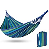 Best Choice Products 2-Person Brazilian Double Hammock Bed w/ Carrying Bag for Backyard, Patio, Indoor Outdoor Use, Cross-Woven Cotton Fabric for Comfort - White