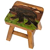 Product review for Bear in Mountains Design Hand Carved Acacia Hardwood Decorative Short Stool