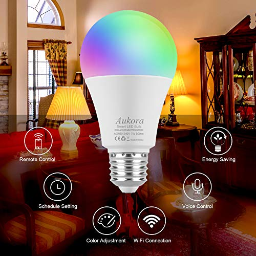 WiFi-Smart-Light-Bulb-Aukora-LED-Light-bulb-Compatible-with-Amazon-Alexa-Google-Home-IFTTT-No-Hub-Required-A19-E26E27-60W-Equivalent7W-Color-Changing-Dimmable-Multicolor-Light-Bulb-1-Pack