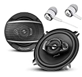 """Pioneer A Series 6.5"""" 320 Watts Max 3-Way Car Speakers Pair with Fiber Cone Midrange and 6-1/2"""" Multi-Fit Installation Adapters Included w/ FREE ALPHASONIK EARBUDS"""