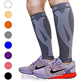 BLITZU Calf Compression Sleeve Leg Performance Support for Shin Splint & Calf Pain Relief. Men Women Runners Guards Sleeves for Running. Improves Circulation and Recovery (Gray, Large/X-Large)