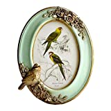 SIKOO Vintage Picture Frame 4x6 Oval Antique Table Top Wall Mounting Photo Frame for Home Decor, Green (Bird)