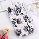 Maxlight Retro Flower Leaf Phone Case for iPhone Xs XR Xs Max X 8 7 Plus Colorful Rose Floral TPU Silicone Cover Soft Cases (Style5, for iPhone XR)