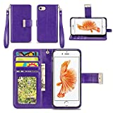 iPhone 7 Case - IZENGATE [Classic Series] Wallet Cover PU Leather Flip Folio with Stand (Purple)