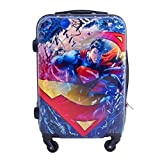 DC Comics Superman 21 Inch Spinner Rolling Luggage Suitcase, Upright Hard Case