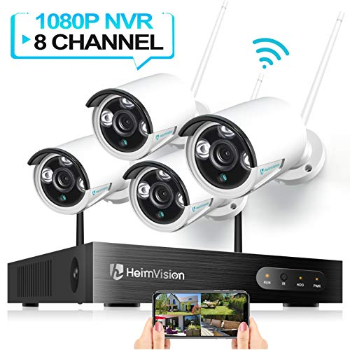 HeimVision HM241 Wireless Security Camera System, 8CH 1080P NVR 4Pcs 960P 1.3MP Outdoor/ Indoor WiFi Surveillance Cameras with Night Vision, Weatherproof, Motion Detection, Remote Monitoring, No HDD