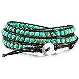 MOWOM Green Alloy Genuine Leather Bracelet Bangle Cuff Rope Simulated Turquoise Bead 3 Wrap Adjustable