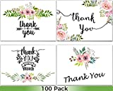 100 Thank You Cards Wedding - Bulk Thank You Cards, Baby Shower Thank You Cards, Blank Cards with Envelopes, Thank you Notes, Bridal Shower, Baptism, Gift Cards, Graduation, Sympathy, Business, Floral