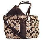 Coach Signature Stripe Multifunction Baby Diaper Travel Laptop Bag 21865 Black/white