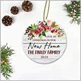 Newlywed Couple Christmas Ornament Our 1st Christmas In Our New Home The Finley Family 2019 Wedding Gift Ideas X-mas Tree Decorations Add Names 3' White Circle Ceramic Ornaments