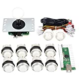 Gamelec Arcade Game Buttons and Joystick Controller Kit for Raspberry Pi and PC Games,1x 5 Pin Joystick and 10x LED Illuminated Push Buttons DIY Kits for Mame,PC and Raspberry Pi 2 3 (White)